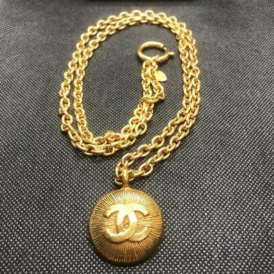 CHANEL Vintage Necklace Gold Chain Round CC COCO Mark authentic