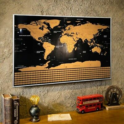 Scratch Off Map Of The World Travel Map Poster Gold Foil With Country Flags NEW
