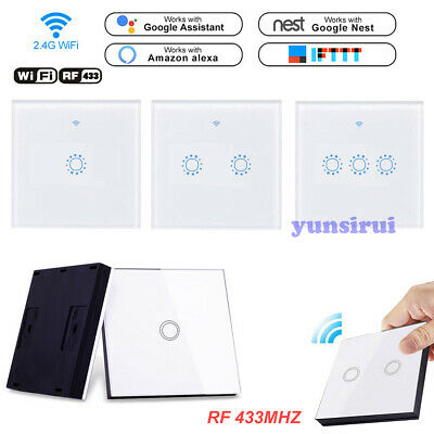 US SMART TOUCH Light Switch WiFi RF APP 1/2/3 Gang Crystal