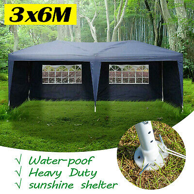 Garden Gazebo 3mx6m Marquee BBQ Party Tent Canopy Marquee Patio W/ 4 Sides Wall