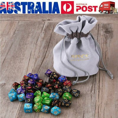 PBPBOX 42pcs Polyhedral Dice for Dungeons Dragons DND RPG D20 D12 D10 D8 D6 AU