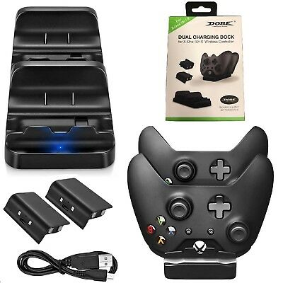 For Xbox One Dual Charging Dock Station Controller Charger+2 Extra Battery Pack