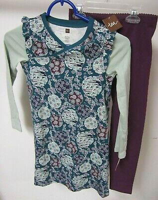 Tea Collection Girls Size 7 8 Outfit Wrap Dress and Leggings Purple Blue Green