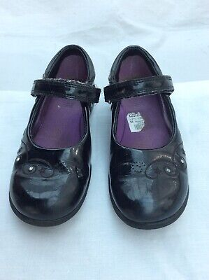 Clarks Girls Black Patent School Shoes With Lights. Size 11.5G