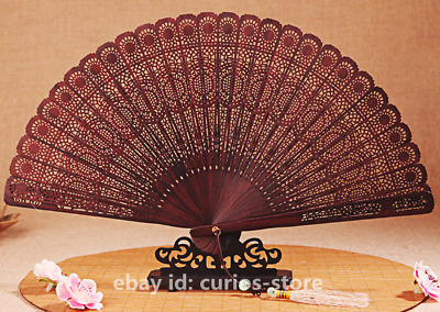 Chinese Classical Red Sandalwood Carving Hollow Out Flower Hand Held Folding Fan