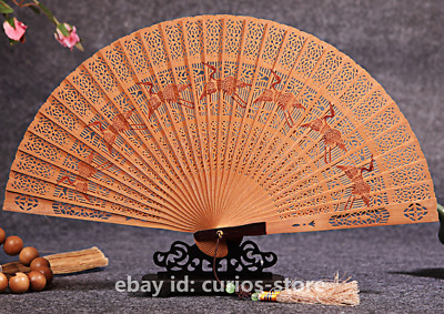 "7.9""China Red Sandalwood Carving Flower Bird Beauty Mountains Rivers Folding Fan"