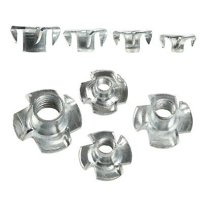 Four Pronged Tee Nut M4 M5 M6 M8 Zinc Plated T Nuts Captive Woodworking