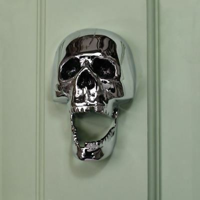 Bright Chrome Skull Door Knocker - Supplied With Fixings