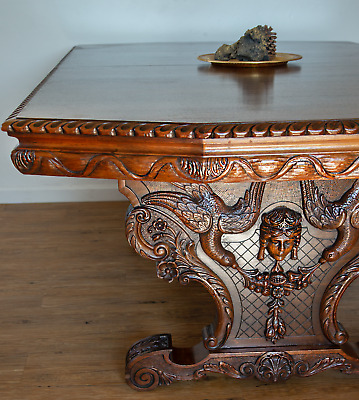 Antique Renaissance Revival Grand Dining Table hand carved with leaves