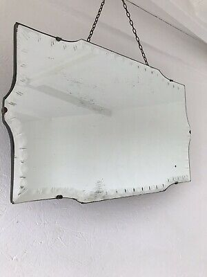Vintage Mirror art deco beveled edged frameless Curvy mirror with Hanging chain