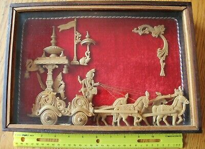 Hand Carved Scene Wooden Shadow box Art Xerxes Pharaoh Chariot & horses Vintage