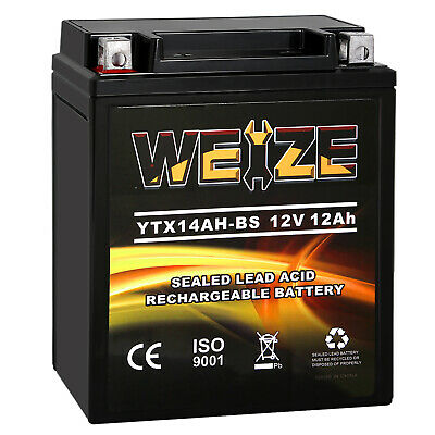 Weize YTX14AH-BS High Performance Maintenance Free AGM Rechargeable ATV Battery