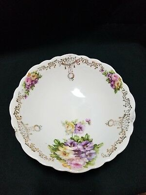 """Beautiful Vintage Porcelain 9"""" Bowl - Gold trim with Flowers - made in Germany"""