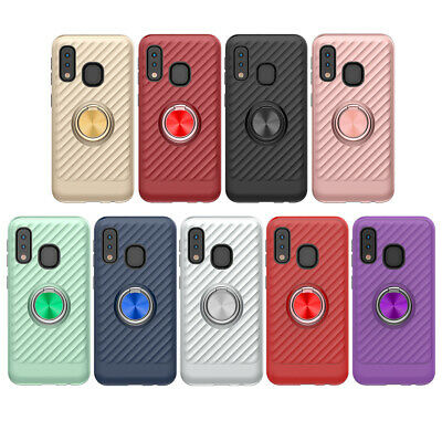 Samsung Galaxy A20 / A50 / A10e Dual-Layer Case with Metal Ring Holder Kickstand