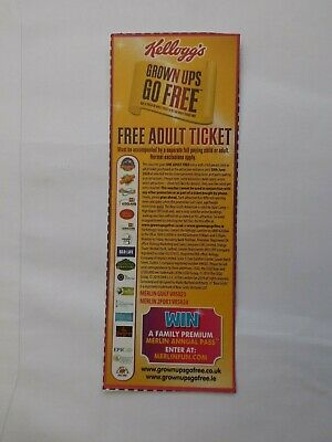 Kelloggs Adults Go Free Voucher Alton Towers Thorpe Park Legoland Sea Life