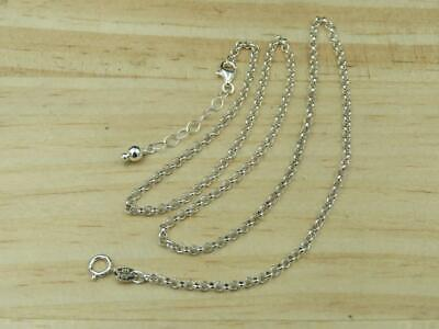 """New Sterling Silver 2mm Rolo Link 18"""" Chain Necklace"""