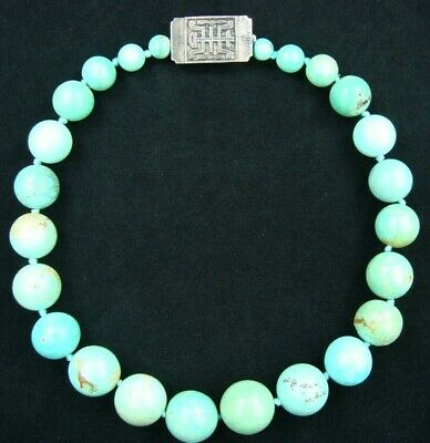 Antique Chinese Blue-Green Turquoise Graduated Beads Necklace W/Silver Clasp 18'