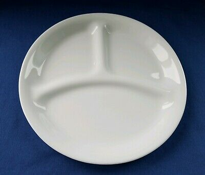 """Vintage Corelle Plate Divided Simple White Collectible Serving Lunch Snack 8.5"""""""
