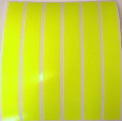 "8 X YELLOW FLUORESCENT STRIPS OF VINYL/TAPE 8"" x 1""  VEHICLES/ARTS AND CRAFTS."