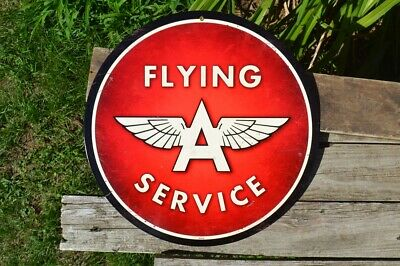 Flying A Service Steel Metal Sign - Tidewater Company - Gas & Motor Oil - Tydol