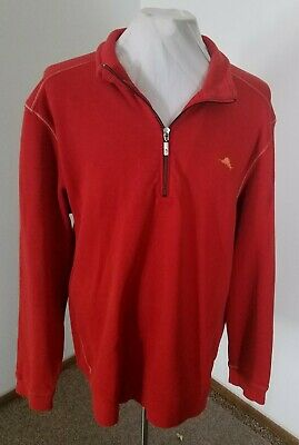 TOMMY BAHAMA RELAX 100% Cotton All Bright Red 1/2 Zip Heavy Sweater Sz XXL