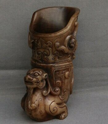 Chinese Exquisite Hand-carved beast Carving Hetian jade cup