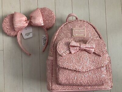 Disney Parks Loungefly Millenial Pink Minnie Mouse Bow Sequin Mini Backpack NWT