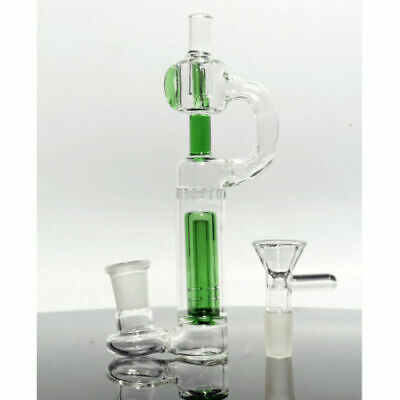 Glass Bong Hookah 6inch Portable Green Bubbler Water Smoking Pipe with 14mm Bowl