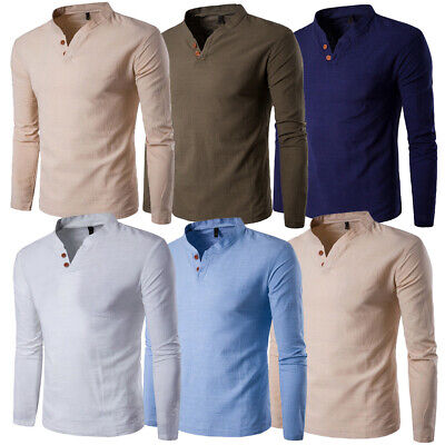 US STOCK Men's Linen Long Sleeve V-Neck Button Casual T-Shirt Loose Tops Blouse