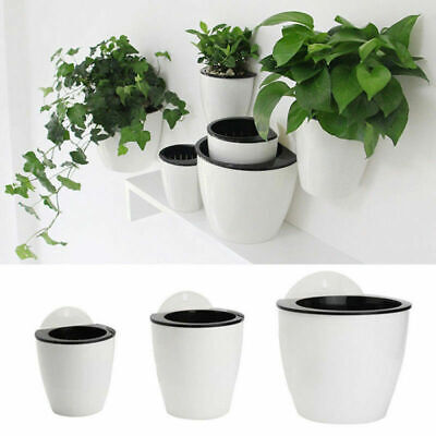 Self-watering Flower Pot Wall Hanging Plastic Planter Bonsai Home Garden Decor