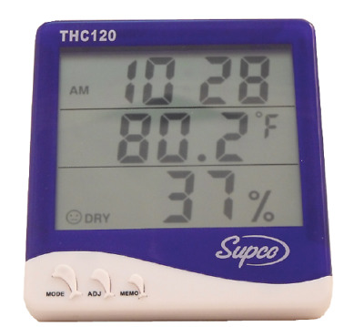Supco THC120 Triple Display Indoor Digital Thermo-Hygrometer with Clock