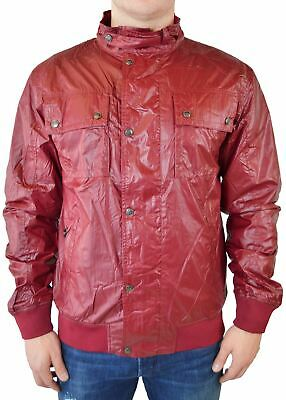 Le Faunty Men's Nylon Jacket Hooded Full Zip Multi Functional Pockets Red