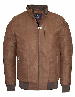 Maximos Men's Suede Biker Stand Collar Jacket David1 Brown Bomber Style
