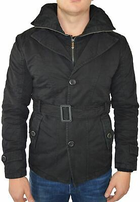 Maximos Men's Norfolk Trench Pea Coat Belted Waist Jacket Faux Fur Lining