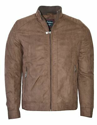 Maximos Men's Suede Biker Stand Collar Jacket David2 Brown Bomber Style