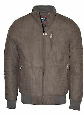 Maximos Men's Suede Biker Stand Collar Jacket David1 Dark Brown Bomber Style