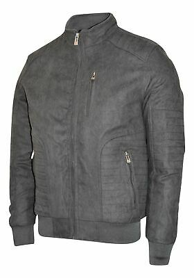 Maximos Men's Suede Biker Stand Collar Jacket David1 Black Bomber Style