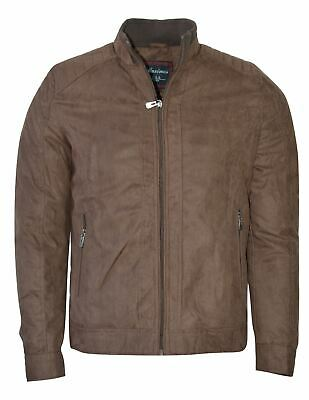 Maximos Men's Suede Biker Stand Collar Jacket David2 Dark Brown Bomber Style