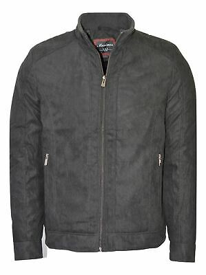 Maximos Men's Suede Biker Stand Collar Jacket David2 Black Bomber Style