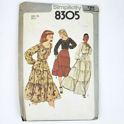 Simplicity Pattern 8305 Miss Size 10 Misses Pullover Blouse & Skirt