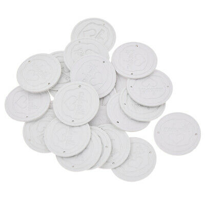 24/48 Pcs Made with Heart Leather Labels Round White Tag Clothing Bag Sewing DIY