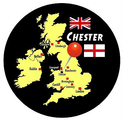 FLAGS CHESTER ZOO ROUND SOUVENIR NOVELTY FRIDGE MAGNET MAP SIGHTS GIFTS