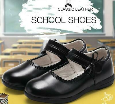 Au Stock Girle's Black Soft Genuine Leather School Shoes Child To Adult Sh002
