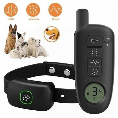 Electric Dog Shock Collar Rechargeable 300m Remote Waterproof Pet Bark Training