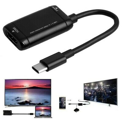 USB-C 3.1 Type C To HDMI Black Adapter Cable For MHL Android Phone Tablet TV