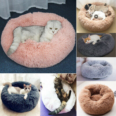 US Pet Dog Cat Calming Bed Round Nest Warm Soft Plush Comfortable Sleeping Nest