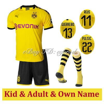 New 19-20 Borussia Dortmund Home Yellow Football Kit Strip+ Socks Boy/Adult Size