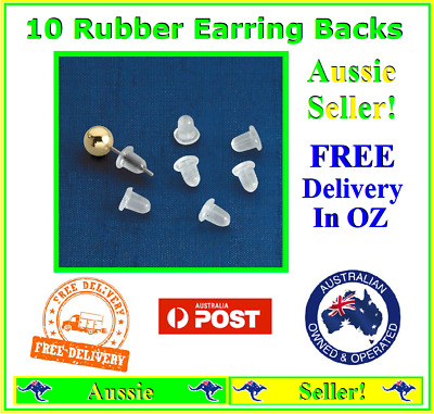Pack of 10x Rubber Earring Back Backs Backing Stoppers Jewellery Brand NEW