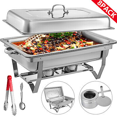 8 Pack Chafing Dish 9 L Buffet Server Chafer Food Warmer Warming Dishes Folding