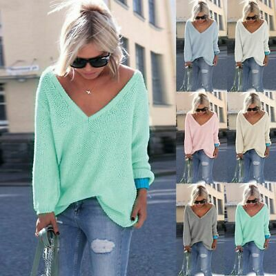 Womens Baggy V Neck Long Sleeve Sweatshirts Knitwear Autumn Tops Pullover Jumper